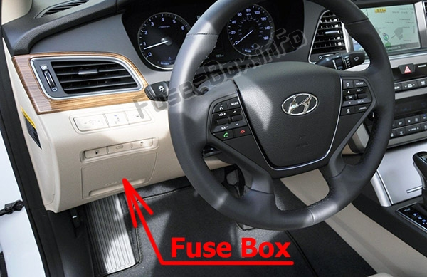 The location of the fuses in the passenger compartment: Hyundai Sonata (LF; 2014-2019..)