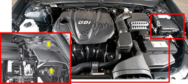 The location of the fuses in the engine compartment: Hyundai Sonata (YF; 2010-2013)