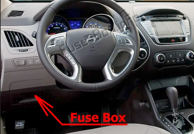 The location of the fuses in the passenger compartment: Hyundai Tucson / ix35 (LM; 2010-2015)
