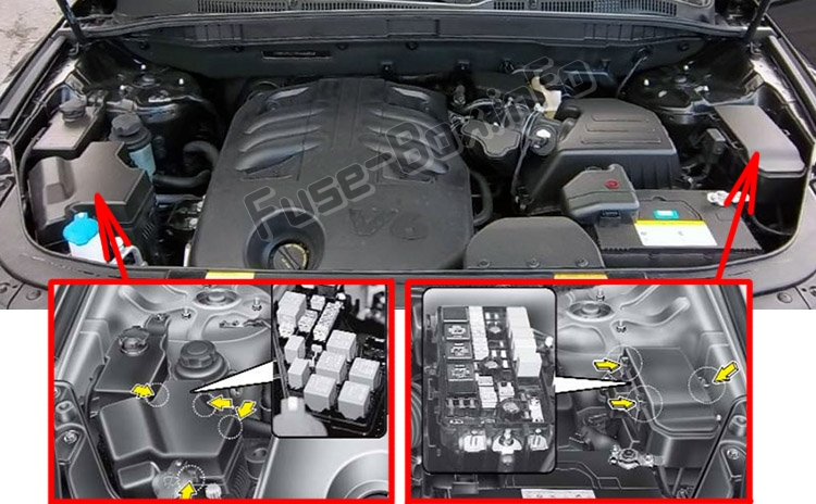 the location of the fuses in the engine compartment: hyundai veracruz /  ix55 (2007