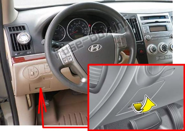 the location of the fuses in the passenger compartment: hyundai veracruz  / ix55 (2007