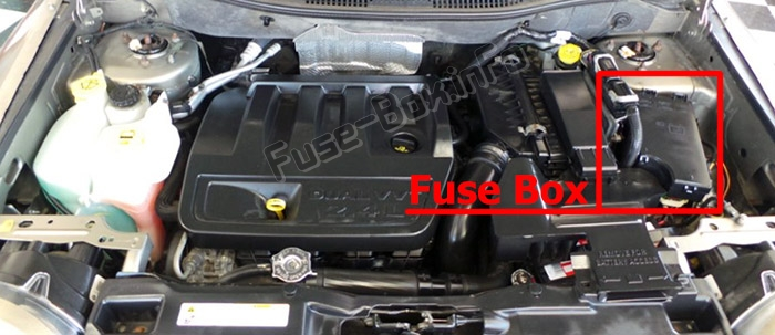 The location of the fuses in the engine compartment: Jeep Compass (MK49; 2007-2010)