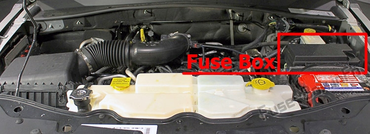 The location of the fuses in the engine compartment: Jeep Liberty (KK; 2008-2012)