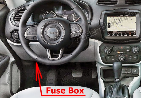 The location of the fuses in the passenger compartment: Jeep Renegade (BU; 2014-2019)