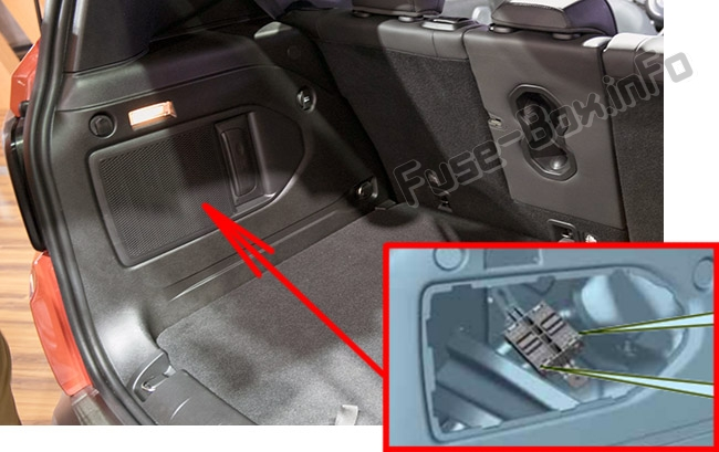 The location of the fuses in the luggage compartment: Jeep Renegade (BU; 2014-2017)