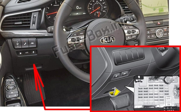 The location of the fuses in the passenger compartment: KIA Cadenza (VG; 2010-2016)