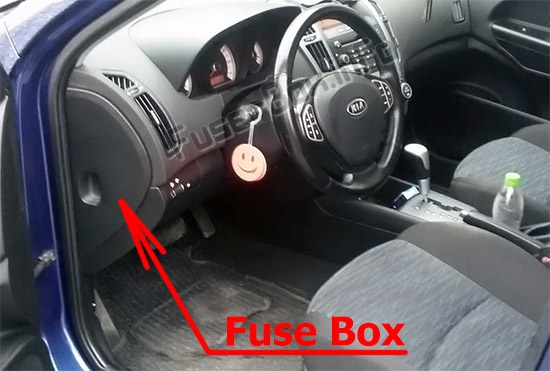 The location of the fuses in the passenger compartment: KIA Cee'd (ED; 2007-2012)