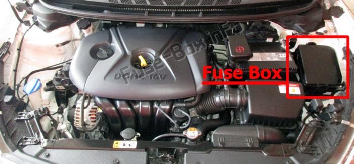 The location of the fuses in the engine compartment: KIA Forte / Cerato (2014-2018)