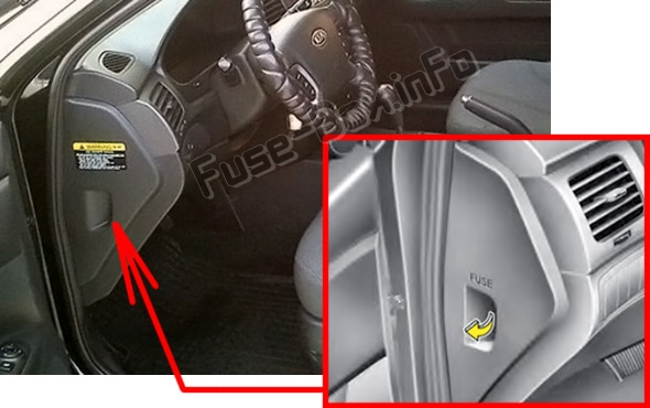 The location of the fuses in the passenger compartment: KIA Magentis (2007-2010)