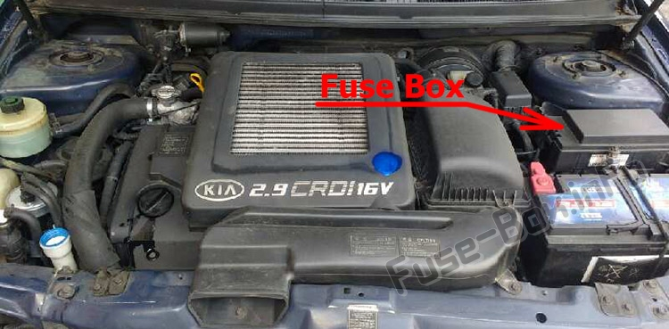 The location of the fuses in the engine compartment: KIA Sedona / Carnival (2002-2005)