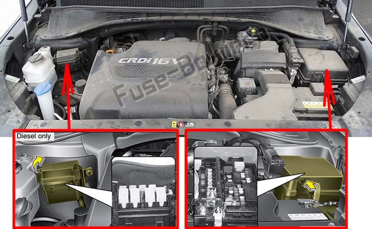 The location of the fuses in the engine compartment: KIA Sorento (UM; 2016-2019..)