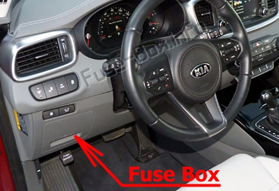 The location of the fuses in the passenger compartment: KIA Sorento (UM; 2016-2019..)