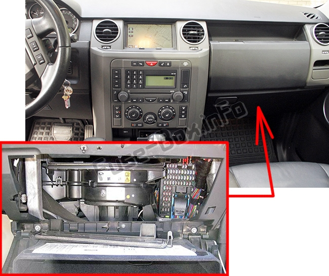 The location of the fuses in the passenger compartment: Land Rover Discovery 3 / LR3 (2004-2009)