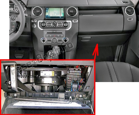 The location of the fuses in the passenger compartment: Land Rover Discovery 4 / LR4 (2010-2016)