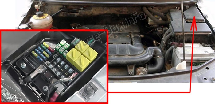 The location of the fuses in the engine compartment: Land Rover Freelander (L314; 2003-2006)