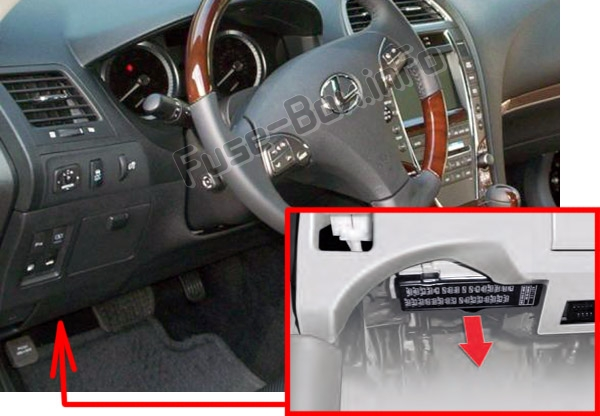 The location of the fuses in the passenger compartment: Lexus ES350 (XV40 / GSV40; 2007-2012)