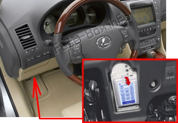 The location of the fuses in the passenger compartment: Lexus GS350 / GS430 / GS460 (2007-2011)