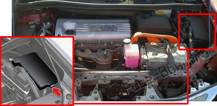 The location of the fuses in the engine compartment: Lexus HS250h (2010-2013)