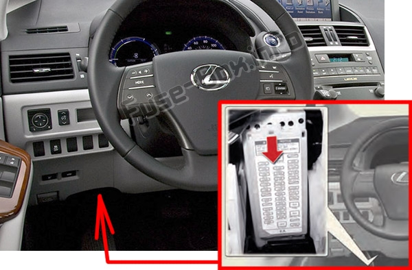 The location of the fuses in the passenger compartment: Lexus HS250h (2010-2013)