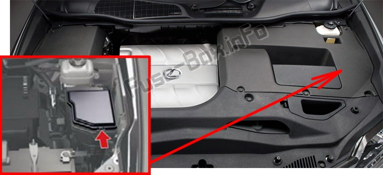 The location of the fuses in the engine compartment: Lexus RX350 (AL10; 2010-2015)