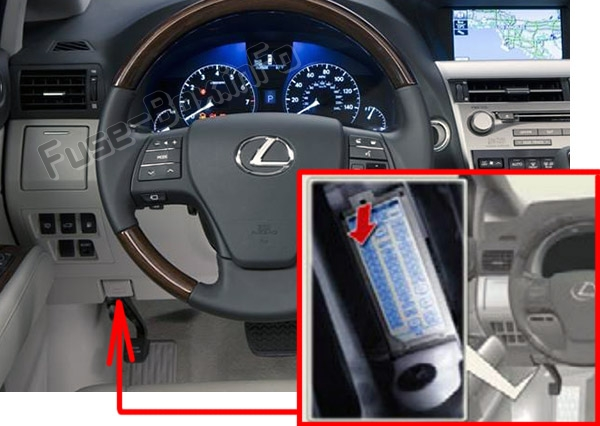 The location of the fuses in the passenger compartment: Lexus RX350 (AL10; 2010-2015)
