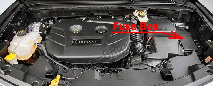 The location of the fuses in the engine compartment: Lincoln MKC (2015-2019..)