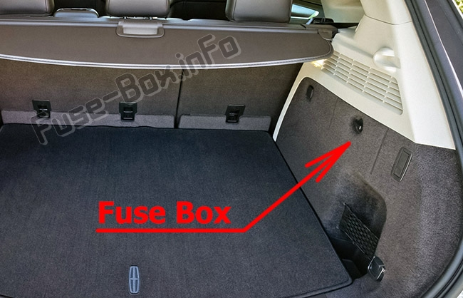 The location of the fuses in the luggage compartment: Lincoln MKC (2015-2019..)