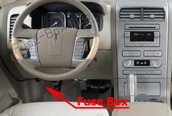 The location of the fuses in the passenger compartment: Lincoln MKX (2011-2015)