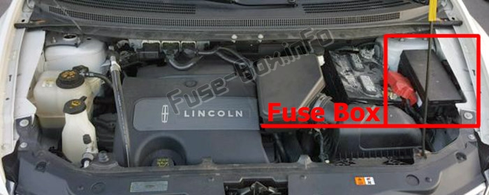 The location of the fuses in the engine compartment: Lincoln MKX (2011-2015)