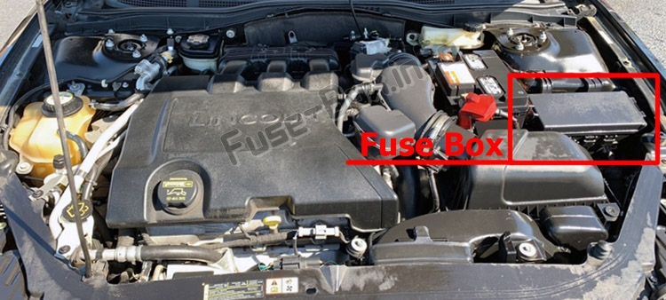 The location of the fuses in the engine compartment: Lincoln MKZ (2007-2012)