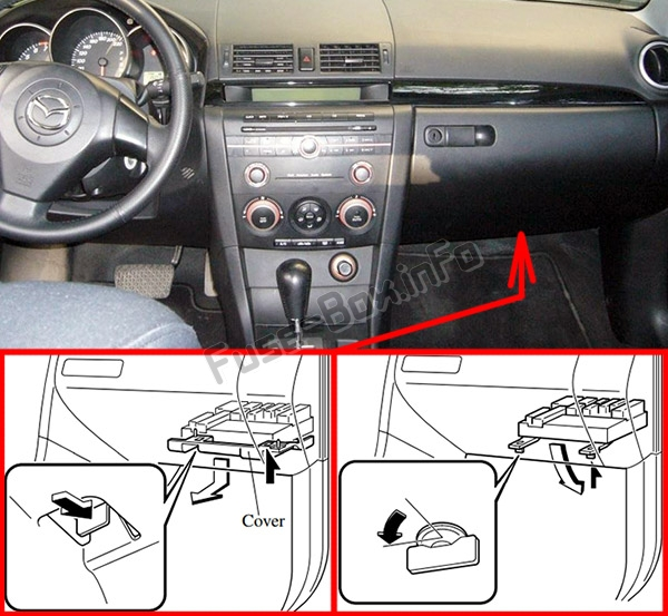 The location of the fuses in the passenger compartment: Mazda 3 (BK; 2003-2009)