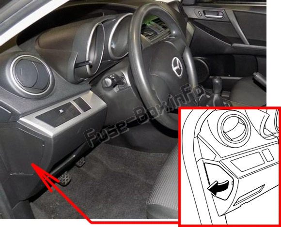 The location of the fuses in the passenger compartment: Mazda 3 (BL; 2010-2013)