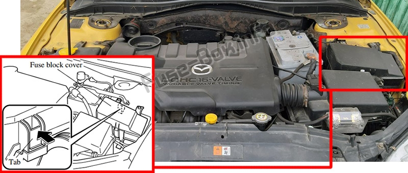 The location of the fuses in the engine compartment: Mazda 6 (GG1; 2003-2008)