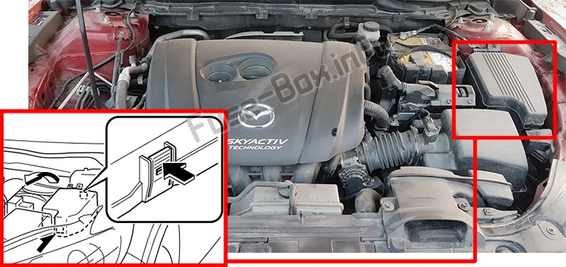 The location of the fuses in the engine compartment: Mazda 6 (GJ1/GL; 2013-2019..)