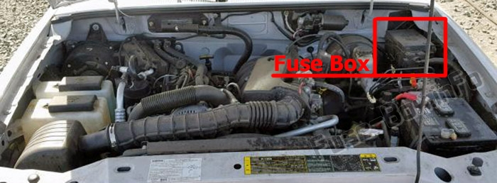 The location of the fuses in the engine compartment: Mazda B-Series (1998-2006)