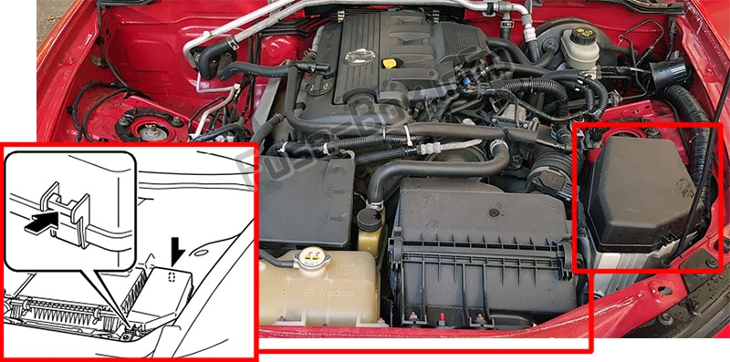 The location of the fuses in the engine compartment: Mazda MX-5 Miata (NC; 2006-2015)