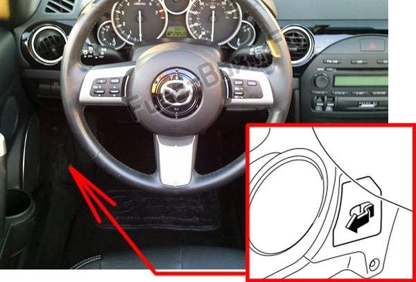 The location of the fuses in the passenger compartment: Mazda MX-5 Miata (NC; 2006-2015)