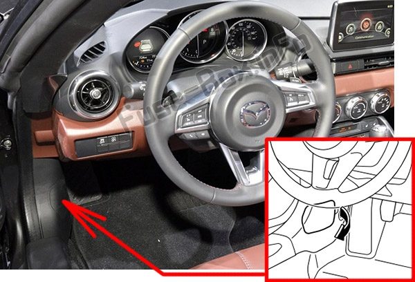 The location of the fuses in the passenger compartment: Mazda MX-5 Miata (ND; 2016-2019..)
