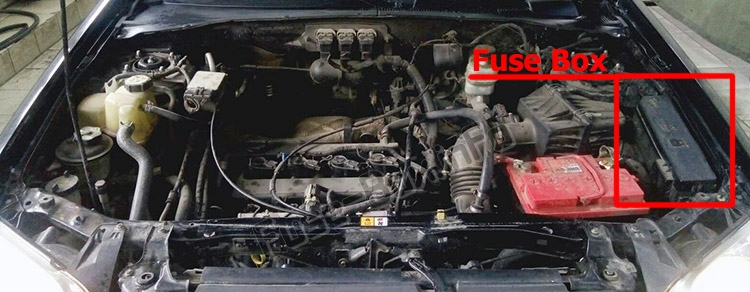 The location of the fuses in the engine compartment: Mazda Tribute (2001-2007)