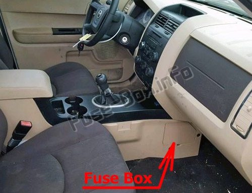 The location of the fuses in the passenger compartment: Mazda Tribute (2008-2011)