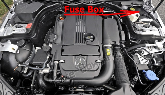 The location of the fuses in the engine compartment: Mercedes-Benz C-Class (W204; 2008-2014)