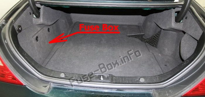 The location of the fuses in the trunk: Mercedes-Benz CLS-Class (W219; 2004-2010)