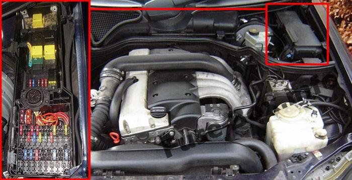 The location of the fuses in the engine compartment: Mercedes-Benz E-Class (1996-2002)