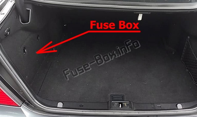 The location of the fuses in the trunk: Mercedes-Benz E-Class (W211; 2003-2009)