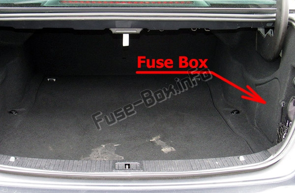 The location of the fuses in the trunk: Mercedes-Benz E-Class (W212; 2010-2016)