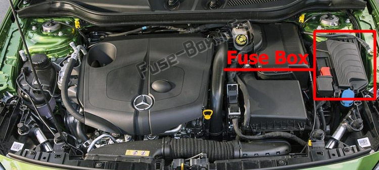 The location of the fuses in the passenger compartment: Mercedes-Benz GLA-Class (X156; 2014-2019..)