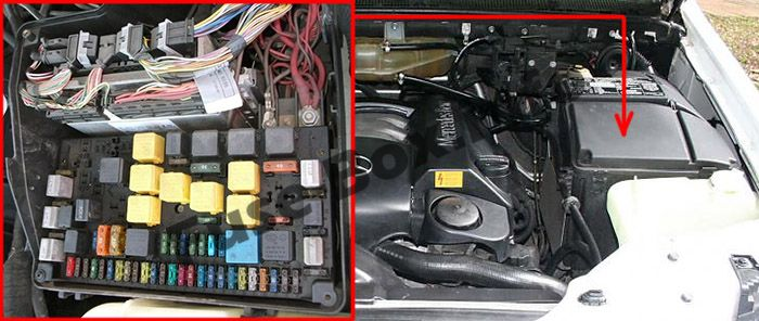 The location of the fuses in the engine compartment: Mercedes-Benz M-Class (W163; 1998-2005)
