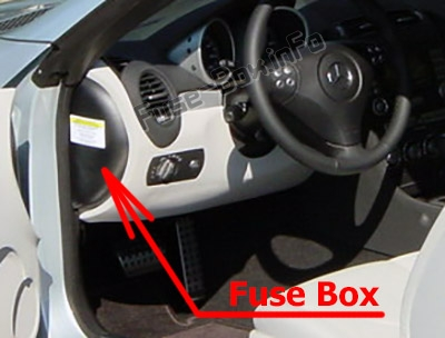 The location of the fuses in the passenger compartment: Mercedes-Benz SLK-Class (R171; 2005-2011)