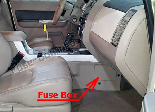 the location of the fuses in the passenger compartment: mercury mariner  (2008-2011