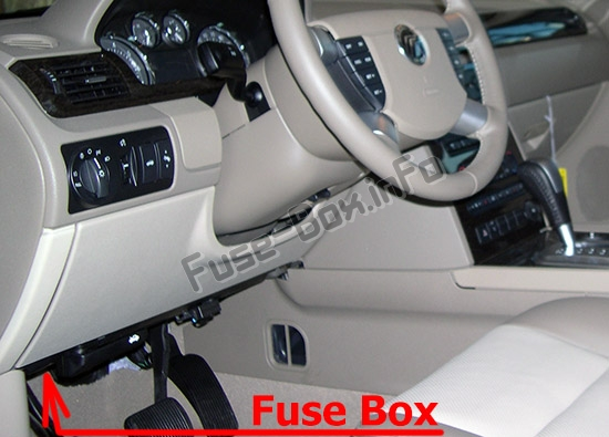 The location of the fuses in the passenger compartment: Mercury Montego (2005-2007)